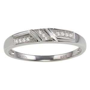 Other - Men's Sterling Silver CZ Wedding Band
